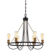 Transitional 6 Light 26 inch Wvintage Black with Warm Brass Chandelier Ceiling Light