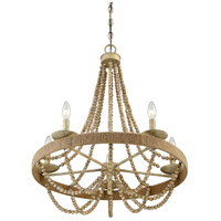 Transitional 5 Light 26 inch Natural Wood with Rope Chandelier Ceiling Light