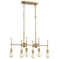 Light Visions PL0059-322 Contemporary 6 Light 18 inch Natural Brass Chandelier Ceiling Light