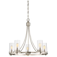 Contemporary 5 Light 26 inch Brushed Nickel Chandelier Ceiling Light