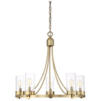 Contemporary 5 Light 26 inch Natural Brass Chandelier Ceiling Light