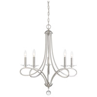 Traditional 5 Light 26 inch Brushed Nickel Chandelier Ceiling Light