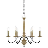 Rustic 6 Light 27 inch Distressed Wood Chandelier Ceiling Light