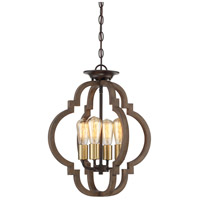 Rustic 4 Light 17 inch Barrelwood with Brass Accents Convertible Semi Flush Ceiling Light