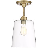 Transitional 1 Light 10 inch Natural Brass Semi Flush Mount Ceiling Light
