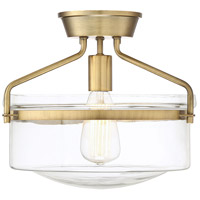 Transitional 1 Light 13 inch Natural Brass Semi Flush Mount Ceiling Light