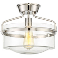 Transitional 1 Light 13 inch Polished Nickel Semi Flush Mount Ceiling Light