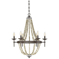 Coastal 6 Light 26 inch Fossil Stone Chandelier Ceiling Light