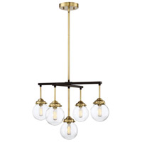 Light Visions PL0111ORBNB Mid-century 5 Light 22 inch Oil Rubbed Bronze with Brass Accents Chandelier Ceiling Light