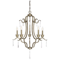 Traditional 5 Light 27 inch Antique Gold Chandelier Ceiling Light