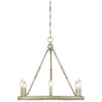 Rustic 6 Light 22 inch Natural Wood and Rope Chandelier Ceiling Light