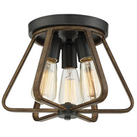 Light Visions PL0133WWGC Rustic 3 Light 13 inch Weathered Wood/Copper Gold Semi Flush Ceiling Light