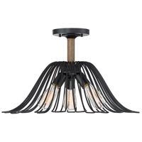 Light Visions PL0142WB Industrial 3 Light 21 inch Wood with Black Accents Semi Flush Mount Ceiling Light