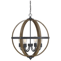 Light Visions PL0151WB Rustic 6 Light 24 inch Wood and Black Pendant Ceiling Light