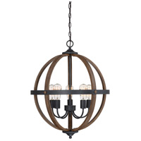 Rustic 5 Light 22 inch Wood with Black Accents Chandelier Ceiling Light
