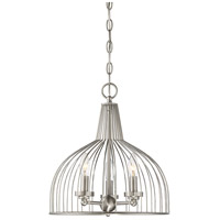 Industrial 3 Light 14 inch Brushed Nickel Chandelier Ceiling Light