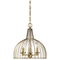 Industrial 3 Light 14 inch Natural Brass Chandelier Ceiling Light