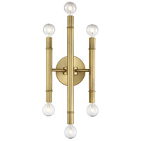 Modern 6 Light 7 inch Natural Brass Wall Sconce Wall Light