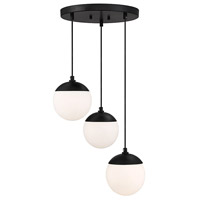 Light Visions PL0171MBK Mid-century 3 Light 13 inch Matte Black Chandelier Ceiling Light