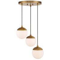 Mid-Century 3 Light 13 inch Natural Brass Chandelier Ceiling Light
