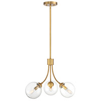Mid-Century 3 Light 18 inch Natural Brass Chandelier Ceiling Light