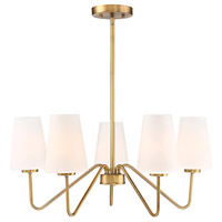 Mid-Century 5 Light 26 inch Natural Brass Chandelier Ceiling Light