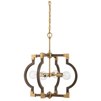 Light Visions PL0186DWNB Transitional 4 Light 22 inch Dark Wood with Natural Brass Pendant Ceiling Light