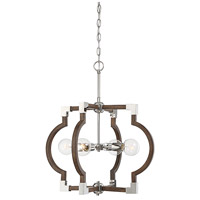 Light Visions PL0186DWPN Transitional 4 Light 22 inch Dark Wood with Polished Nickel Pendant Ceiling Light