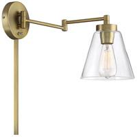 Light Visions PL0230NB Mid-Century 19 inch 60 watt Natural Brass Adjustable Wall Sconce Wall Light