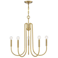 Light Visions PL0242NB Mid-Century Modern 5 Light 25 inch Natural Brass Chandelier Ceiling Light