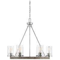 Light Visions PL0246GWCH Farmhouse 5 Light 27 inch Greywood Chrome Chandelier Ceiling Light in Grey Wood Chrome