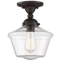 Light Visions PL0279ORB Mid-Century 1 Light 9 inch Oil Rubbed Bronze Semi Flush Ceiling Light