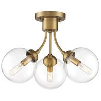 Light Visions PL0280NB Mid-Century 3 Light 16 inch Natural Brass Semi Flush Ceiling Light