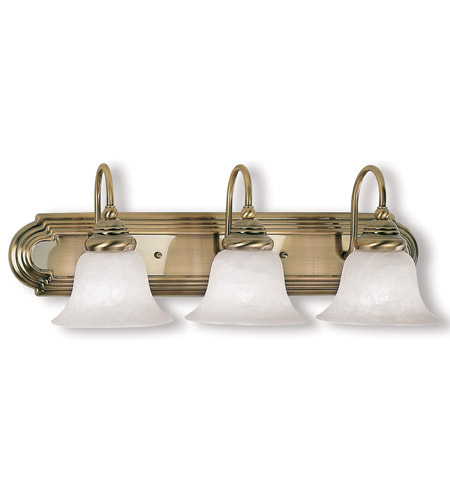 Livex Lighting Belmont 3 Light Bath Light in Antique Brass 1003-01 photo