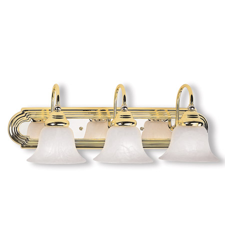 Livex Lighting Belmont 3 Light Bath Light in Polished Brass & Chrome 1003-25 photo