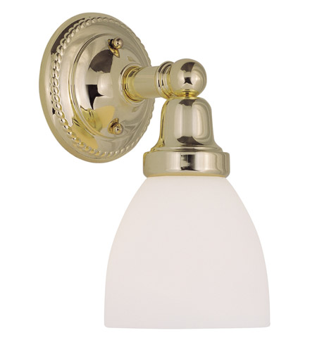 Livex 1021-02 Classic 1 Light 6 inch Polished Brass Bath Light Wall Light in Satin photo