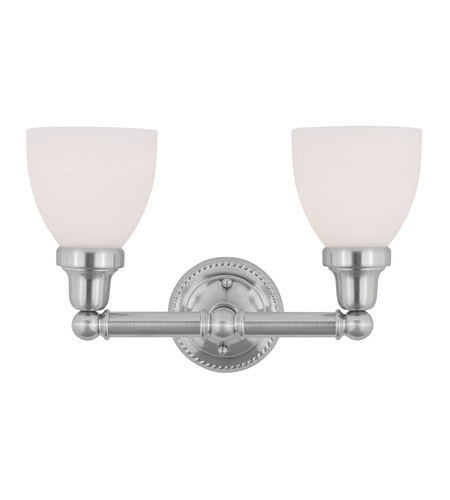 Livex 1022-91 Classic 2 Light 16 inch Brushed Nickel Bath Light Wall Light in Satin photo