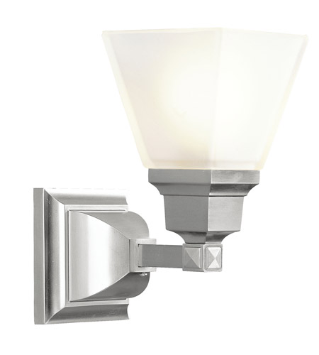 Livex 1031-91 Mission 1 Light 6 inch Brushed Nickel Bath Light Wall Light photo