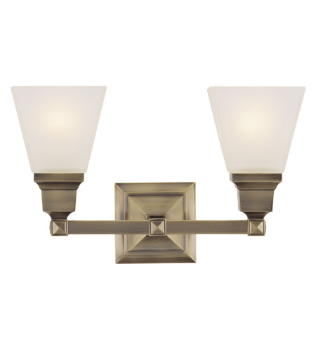 Livex 1032-01 Mission 2 Light 17 inch Antique Brass Bath Light Wall Light photo