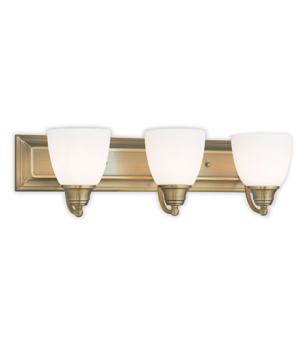 Vanity Lights Antique Brass : Livex 10503-01 Springfield 3 Light 24 inch Antique Brass Vanity Light Wall Light