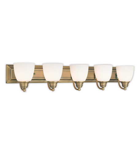 Livex 10505-01 Springfield 5 Light 36 inch Antique Brass Vanity Light Wall  Light - Livex 10505-01 Springfield 5 Light 36 Inch Antique Brass Vanity