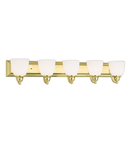 Livex 10505-02 Springfield 5 Light 36 inch Polished Brass Vanity Light Wall  Light - Livex 10505-02 Springfield 5 Light 36 Inch Polished Brass Vanity