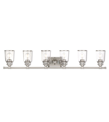 Livex 10516 91 Lawrenceville 6 Light 48 Inch Brushed Nickel Vanity Wall