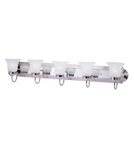 Livex 1075-05 Home Basics 5 Light 36 inch Polished Chrome Bath Light Wall Light photo