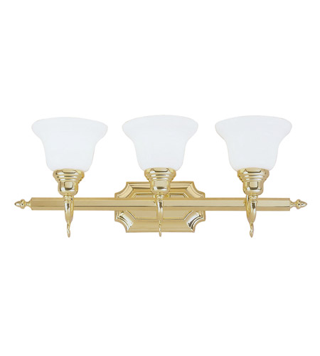 Livex Lighting 1283-02 French Regency 3 Light 25 inch Polished Brass Bath Vanity Wall Light photo thumbnail