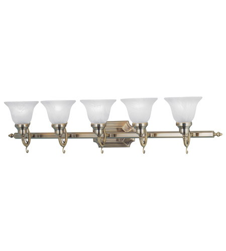 Livex Lighting French Regency 5 Light Bath Light in Antique Brass 1285-01 photo