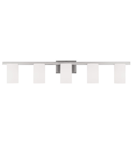 Livex 1335-91 Astoria 5 Light 44 inch Brushed Nickel Bath Light Wall Light in Hand Blown Satin White photo