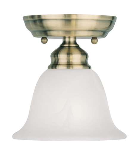 Livex Lighting Essex 1 Light Ceiling Mount in Antique Brass 1350-01 photo