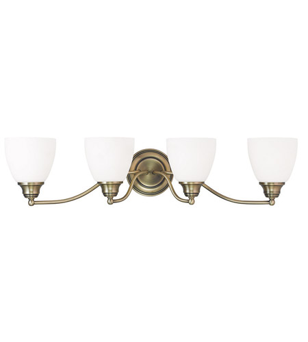 Livex 13674-01 Somerville 4 Light 30 inch Antique Brass Vanity Light Wall  Light - Livex 13674-01 Somerville 4 Light 30 Inch Antique Brass Vanity Light