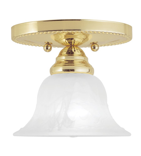 Livex Lighting Edgemont 1 Light Ceiling Mount in Polished Brass 1530-02 photo
